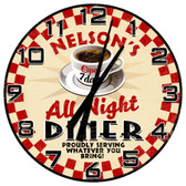 Personalized All Night Diner Vintage Wall Clock