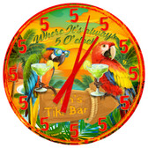 Personalized Tiki Bar Parrots Happy Hour Wall Clock