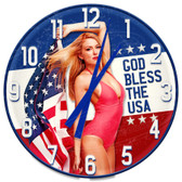 American Patriotic Pin Up Girl Decorative Wall Clock