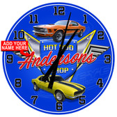 Personalized Hot Rod Shop Wall Clock