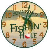 Personalized Fishing Hole Decorative Wall Clock