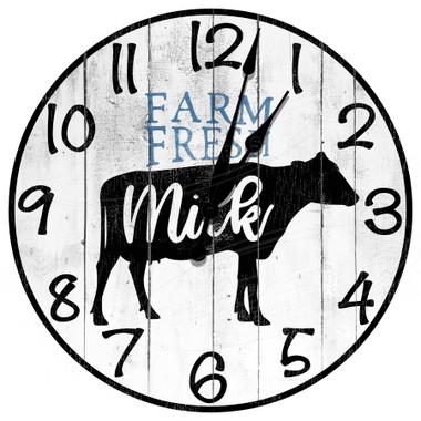 Dairy Farm Fresh Milk Decorative Wall Clock