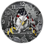 American Patriotic Eagle Don't Tread On Me Wall Clock