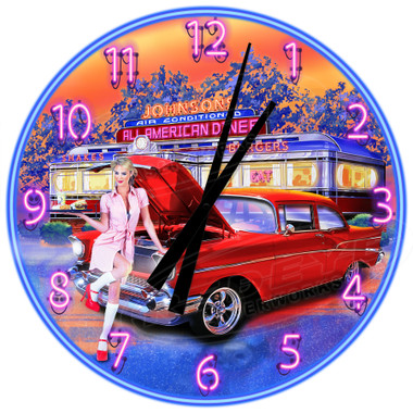 Personalized Vintage American Diner Wall Clock