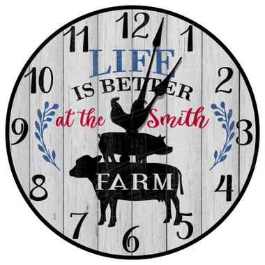 Personalized Farm Life Rustic Decorative Wall Clock