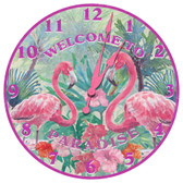 Paradise Welcome Flamingo Themed Wall Clock