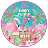 Personalized Pink Flamingos Decorative Wall Clock