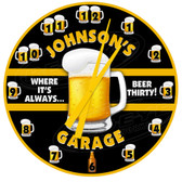 Personalized Beer Thirty Garage Decorative Wall Clock