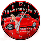 Personalized Hot Rod Garage Pin Up Girl Decorative Wall Clock