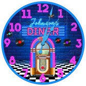 Personalized Retro Diner Jukebox Decorative Wall Clock