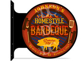 Backyard BBQ Themed customized double sided metal flange sign
