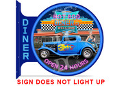 50's Retro Diner Drive In Themed double sided metal flange sign