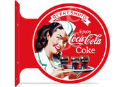 Coca-Cola Retro Diner Themed double sided metal flange sign