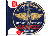 Vintage Garage Themed customized double sided metal flange sign