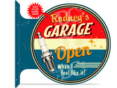 Dad's Garage Themed customized double sided metal flange sign