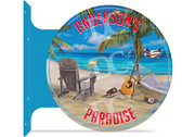 Beach Bar Paradise Themed customized double sided metal flange sign