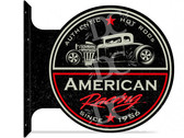 American Hot Rod Racing Themed double sided metal flange sign