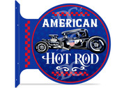 American Hot Rod Themed double sided metal flange sign