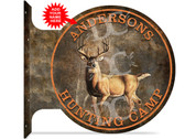 Deer Hunting Camp customized double sided metal flange sign