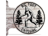 Bigfoot Sasquatch double sided metal flange sign