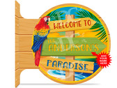 Paradise Beach Welcome Themed customized double sided metal flange sign