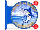 Deep Sea Fishing Blue Marlin Hang Up Sign