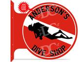 Diver Dive Shop Flag  Sign