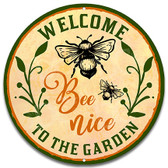 Honey Bee Welcome Metal Garden Sign Tan