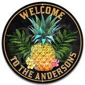 Pineapple Themed Home Welcome Metal Sign