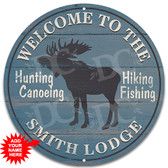 Moose Lodge Themed Sign Blue