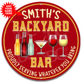 Backyard Bar Metal Patio Sign Red