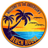 Sunset Beach House Metal Sign
