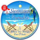 Paradise Beach Bar Metal Welcome Wall Sign Blue