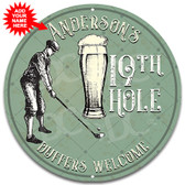 Golfer 19th Hole Male Version Metal Sign