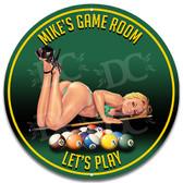 Pool Game Room Metal Wall Sign