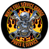 Full Service Skull Motor Metal Garage Sign