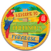Paradise Island Tiki Metal Wall Sign
