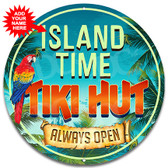 Tiki Hut Island Paradise Metal Wall Sign