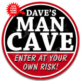 Man Cave Warning Red Metal Sign
