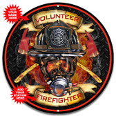 Firefighter Mask Flames Metal Wall Sign - Customized