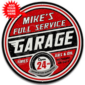 Full Service Garage Metal Wall Sign - Customized