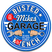 Busted Wrench Garage Blue Metal Wall Sign - Customized