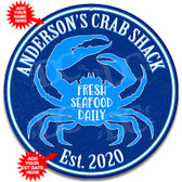 Crab Shack Restaurant Metal Blue Wall Sign - Customized