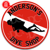 Dive Shop Diver Flag Metal Wall Sign - Customized
