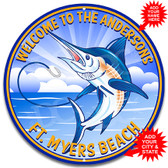 Blue Marlin Fishing Metal Wall Sign - Customized