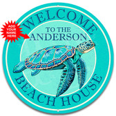 Beach House Sea Turtle Themed Teal Metal Wall Sign - Customized
