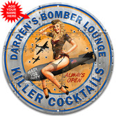 WWII Bomber Lounge Novelty Metal Wall Sign - Customized