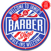 Barber Shop Hair Cut Metal Wall Sign - Customized