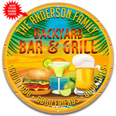 Backyard Patio Bar Metal Tropical Wall Sign - Customized