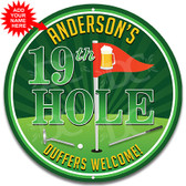 19th Hole Golfer Metal Wall Sign - Customized